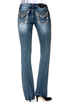 Miss Me Border Embroidery Pocket Boot Cut Jean