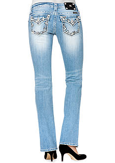 Miss Me Embroidered Trim Flap Pocket Boot Cut Jean