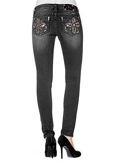 Miss Me Frayed Metallic Fleur De Lis Skinny Jeans