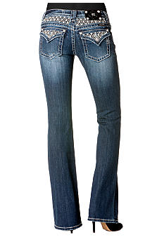 Miss Me Diamond Studded Flap Pocket Bootcut Jean