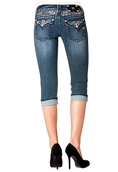 Miss Me Animal Flap Pocket Denim Capri