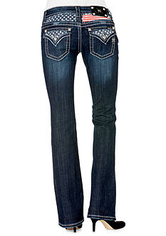 Miss Me Flag Yoke Flap Pocket Boot Cut Jean
