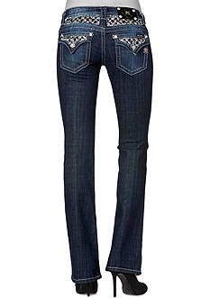 Miss Me Black & Silver Insert Boot Cut Jeans