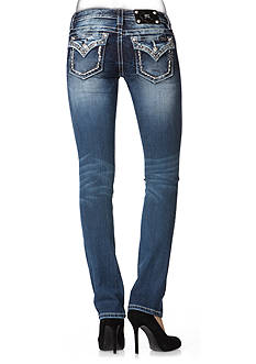 Miss Me Embroidered Trim Flap Straight Leg Jean