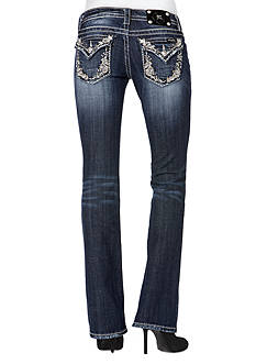Miss Me Embellished Trim Flap Pocket Boot Cut Jean