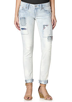 Miss Me Patch Distressed Light Wash Skinny Jeans