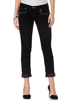 Miss Me Embellished Cuff Black Skinny jeans