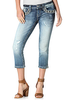 Miss Me Jewel Pocket Denim Capris