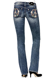 Miss Me Floral Peace Pocket Bootcut Jean