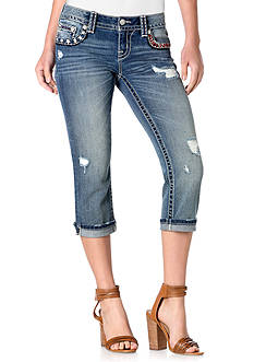 Miss Me Americana Destructed Denim Capris