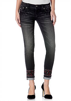 Miss Me Embroidered Cuff Ankle Skinny Jeans