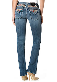 Miss Me Floral Flap Pocket Bootcut Jeans