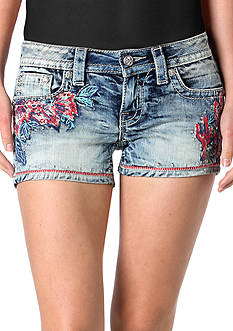 Miss Me Floral Embroidered Denim Shorts