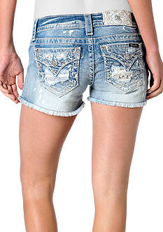 Miss Me Destructed Lace Pocket Denim Shorts
