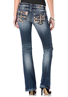 Miss Me Plaid Cross Pocket Bootcut Jeans