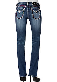 Miss Me Alternative Red & White Stitch Border Boot Cut Jeans