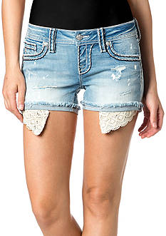 Miss Me Lace Pocketbag Denim Shorts