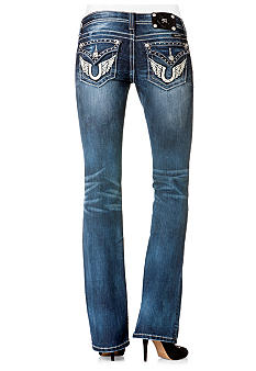 Miss Me Angel Wing Flap Pocket Bootcut Jean
