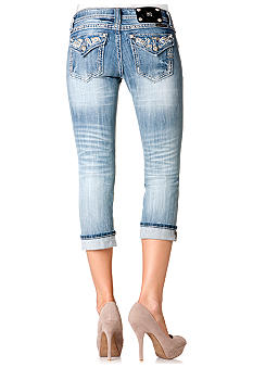 Miss Me Paisley Flap Pocket Denim Capri