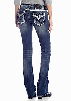 Miss Me Sequin Embroidered Flap Pocket Boot Cut Jean
