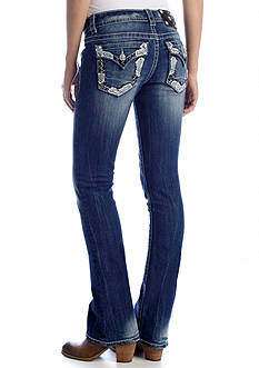 Miss Me Border Embroidered Flap Boot Cut Jean
