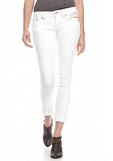 Miss Me White Ankle Cuff Skinny Jeans