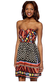 MM COUTURE by Miss Me Strapless Bustier Printed Dress
