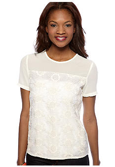 MM COUTURE by Miss Me Short Sleeve Lace Blouse