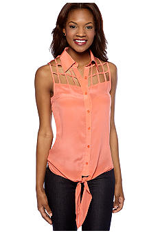 MM COUTURE by Miss Me Sleeveless Button Down Blouse