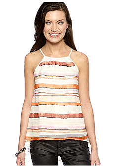 MM COUTURE by Miss Me Stripe Beaded Split Back Tank