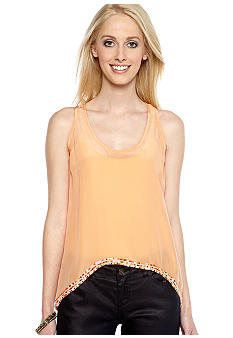 MM COUTURE by Miss Me Beaded Hem Racerback Tank