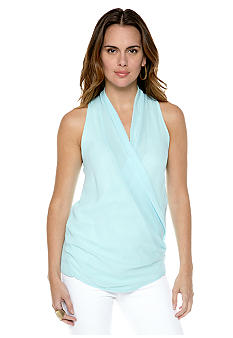 MM COUTURE by Miss Me Drape Front Surplice Sleeveless Blouse