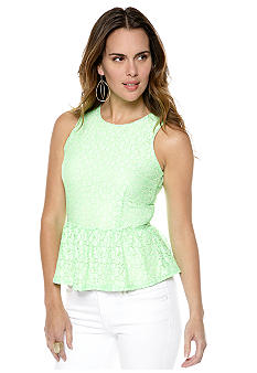 MM COUTURE by Miss Me Lace Peplum Blouse