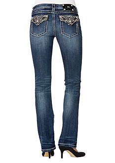 Miss Me Mid Rise Embellished Flap Pocket Boot Cut Jean