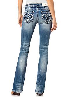 Miss Me Fleur-de-Lis Pocket Bootcut Jeans