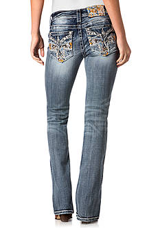 Miss Me Multi Color Embroidered Cross Bootcut Jeans