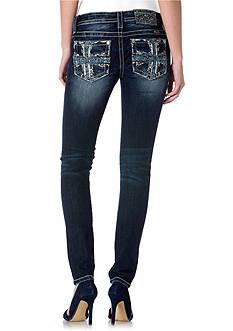 Miss Me Embellished Cross Pocket Skinny Jean