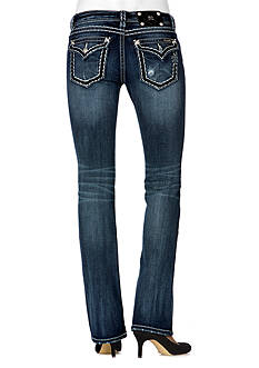 Miss Me Stitch Pattern Relaxed Boot Cut Jean