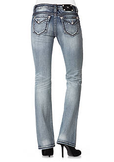Miss Me Silver Saddle Stitch Border Relaxed Boot Cut Jeans