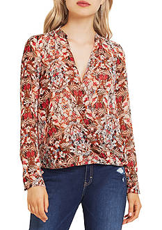BCBGeneration Drape Front Printed Blouse