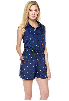BCBGeneration Net Paneled Bird Print Romper