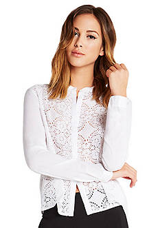BCBGeneration Lace Button-Up Shirt
