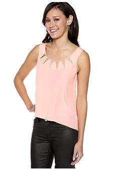 BCBGeneration Cutout Neck Hi Lo Sleeveless Blouse