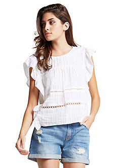 BCBGeneration Checkered Gauze Ruffle Top