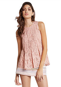 BCBGeneration Pleated Lace Top