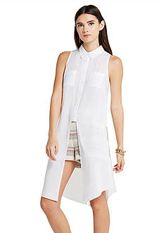 BCBGeneration Long Slit Button Down Tank