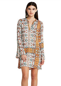 BCBGeneration Printed Bell Sleeve Dress