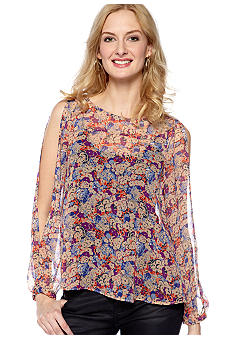 BCBGeneration Printed Split Sleeve Blouse