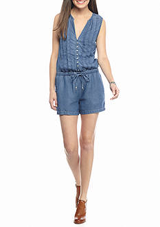 Splendid Chambray Pleated Button Front Romper