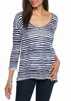 Splendid Stripe Button Back Sweater